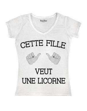 t shirt femme cette fille veut une licorne. Black Bedroom Furniture Sets. Home Design Ideas